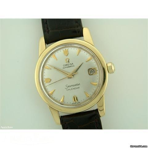 Omega Seamaster Calendar 18ct gold automatic on strap