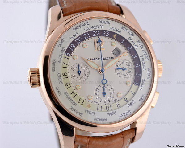 Girard Perregaux World Time WW.TC Chronograph 18K Rose Gold 43MM