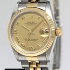 Rolex Datejust 18k Yellow Gold/Steel Champagne Roman Dial...