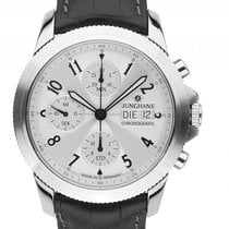Junghans Arthur Stahl Automatik Chronograph Armband Leder 42mm...