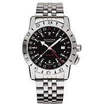Glycine Airman Base 22 GMT Black Dial Steel Bracelet Automatic...