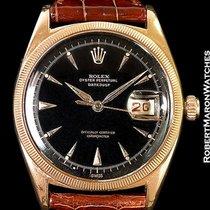 Rolex Datejust 6305 Ovettone 18k Rose Gold Black Dial 1953