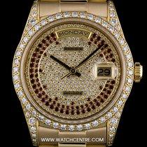 Rolex 18k Y/G Rare Pavé Dia & Ruby Dial Diamond Set...