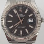 Rolex Datejust II 41mm SS Oyster Band Black Dial White-Gold Bezel