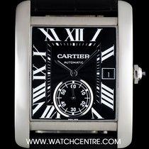 Cartier Stainless Steel Black Roman Dial Tank MC Gents W5330004