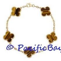 Van Cleef & Arpels Yellow Gold Tigers Eye Alhambra Bracelet