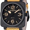 Bell & Ross Heritage Black Dial Tan Leather Strap Mens...