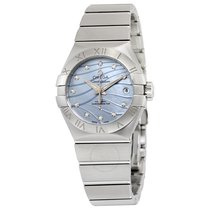 Omega Constellation Co-Axial Blue Mother of Pearl Diamond Dial...