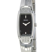 Seiko Diamond Dress Stainless Steel Womens Watch Black Dial...
