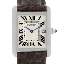 Cartier Tank Louis Mens 18k White Gold Date Watch W1540956