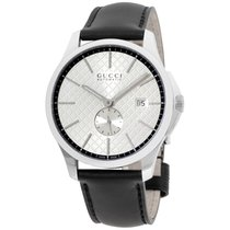 Gucci G-timeless Silver Dial Leather Strap Men's Watch...