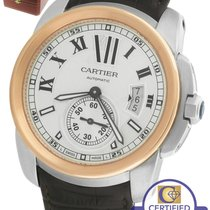 Cartier Calibre W7100039 Silver 42mm Two Tone Rose Gold Brown