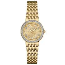 Bulova Gold Sunray Dial Diamond Ladies Watch 98R212