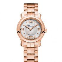 Chopard Happy Sport Silver Tone Dial 18 Carat Rose Gold Ladies...