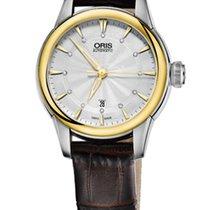 Oris Artelier Date Diamonds Steel/Gold Leather