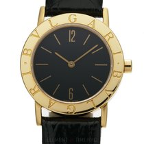 Bulgari 18k Yellow Gold Dress Watch 30mm Black Dial Ref. BB 30 GL