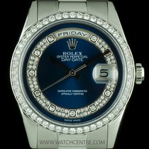 Rolex Platinum O/P Blue Myriad Diamond Dial Day-Date Gents 118346
