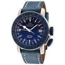 Glycine Airman 18 Blue Dial Automatic Men's Blue Leather...