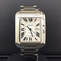 Cartier Tank Anglaise Medium 30mm Steel Silver Roman Dial Date...