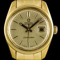 Omega 18k Yellow Gold Seamaster Date Ladies Vintage Wristwatch