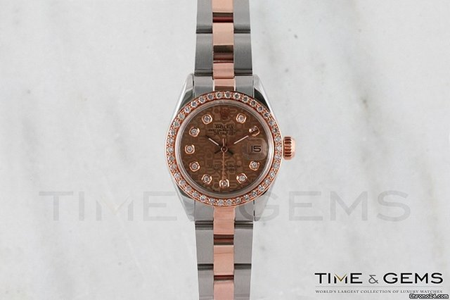 Rolex Two-Tone Rose Gold Champagne Diamond Dial Beadset Bezel Oyster Band Datejust