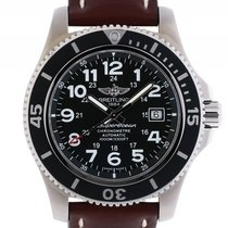 Breitling Superocean II Stahl Automatik Chronometer Lederband...