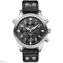 IWC Double Pilots Chronograph Black Dial Black Leather...