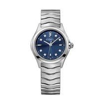 Ebel Wave Lady 30mm Stahl Blau Diamanten / Steel Blue Diamond