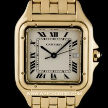 Cartier 18k Yellow Gold Silver Roman Gents Panthere Watch B&P