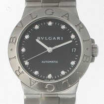 Bulgari Diagono Stainless steel watch black dial with diamonds