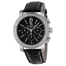 Bulgari Black Dial Chronograph Black Leather Automatic...