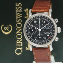 Chronoswiss Lunar Chronograph Steel Black Dial Automatic Watch...