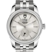Tudor Glamour Double Date 57000 Silver Index Stainless Steel...