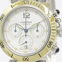 Cartier Polished Cartier Pasha 38 Chronograph 18k Gold Steel...