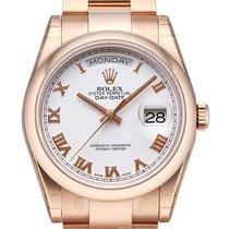 Rolex Day-Date 36 18 kt Everose-Gold 118205 Weiß Römisch