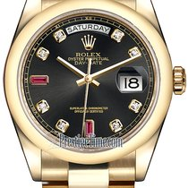 Rolex Day-Date 36mm Yellow Gold Domed Bezel 118208 Black...
