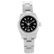 Rolex Oyster Perpetual Nondate Ladies Black Dial Steel Watch...