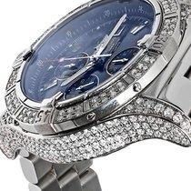 Breitling Super Avenger A13370 Diamond Case Blue Sticks Dial...