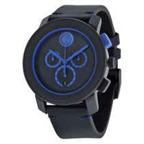 Movado Bold Chronograph Navy Blue Dial Blue Leather Mens Watch...