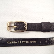 Omega NEW strap black leather10 mm + new buckle 8 mm gold plated