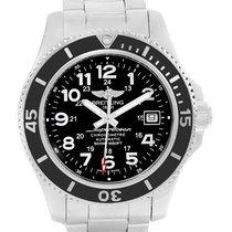 Breitling Superocean Ii Black Dial Steel Mens Watch A17365 Box...
