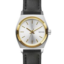 Nixon A509-1884 Small Time Teller Leather Silver Gold Black...