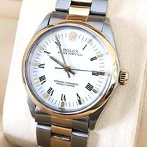 Rolex Oyster Perpetual Gold Steel White Roman Dial (34 mm)
