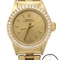 Rolex Oyster Perpetual 14K Gold Auto Custom Diamond Dial Watch
