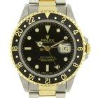 Rolex GMT Master II Batman Yellow Gold 18k SS 16713 Sapphire...