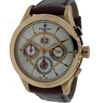 Perrelet Big Date Chronograph White Dial Brown Leather 18kt...