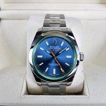 Rolex Milgauss Blue Dial Green Crystal 116400GV W/ Rolex Warranty