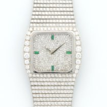 Patek Philippe White Gold Full Diamond Emerald Bracelet Watch...