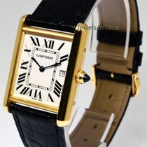 Cartier Tank Louis 18k Yellow Gold Mens Quartz Watch & Box...