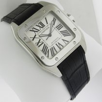 Cartier Santos 100 w20073x8 Stainless Steel Black Crocodile